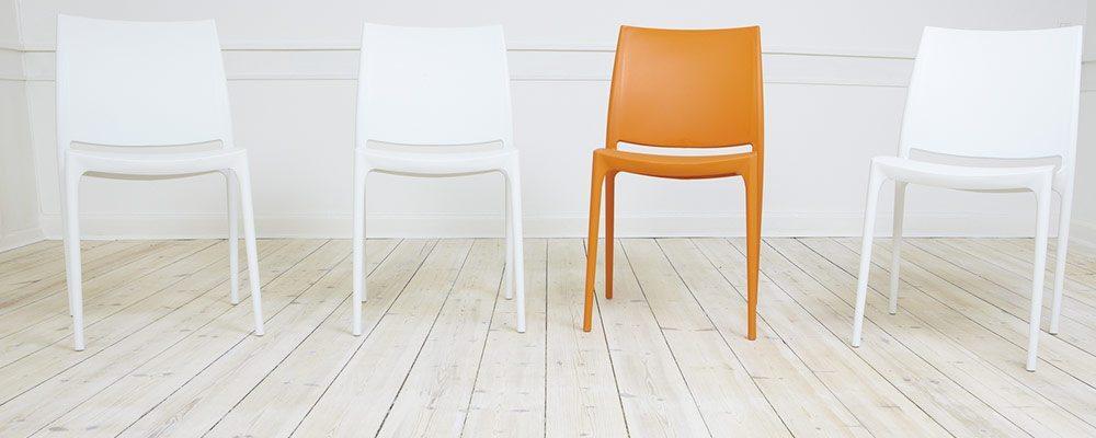 Orange chair line up